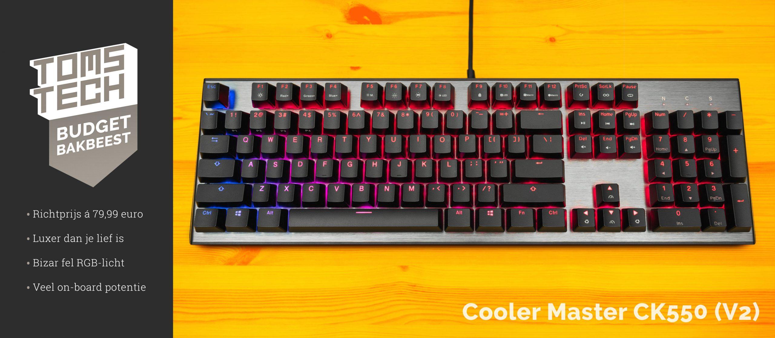 """Het eerste """"Budget Bakbeest"""" is de Cooler Master CK550 (V2) — Een toetsenbord dat ontiegelijk veel luxe voor een minder prijsje biedt."""