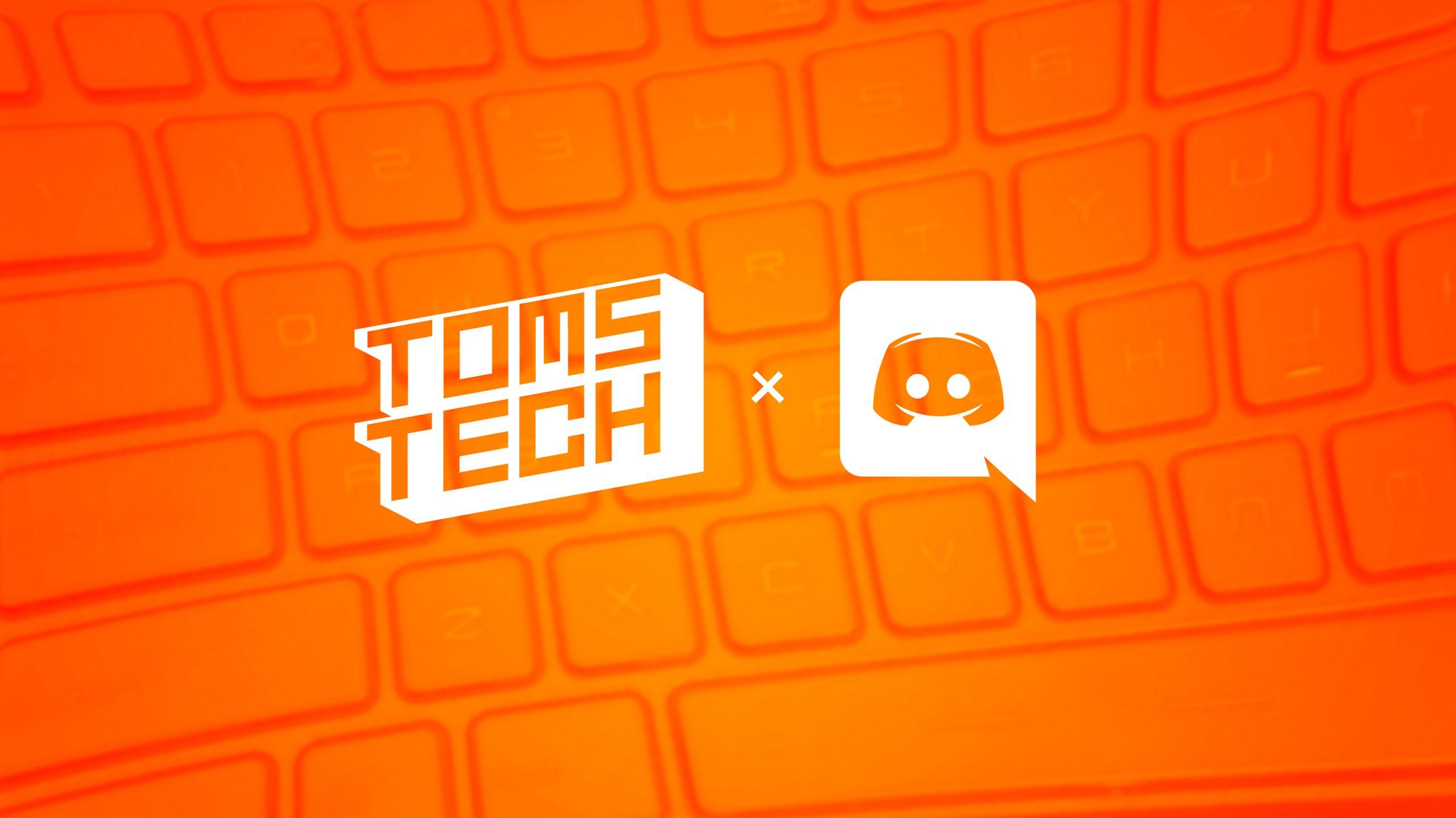 Illustratie van het logo van Toms Tech, in combinatie met dat van communicatiemiddel Discord.