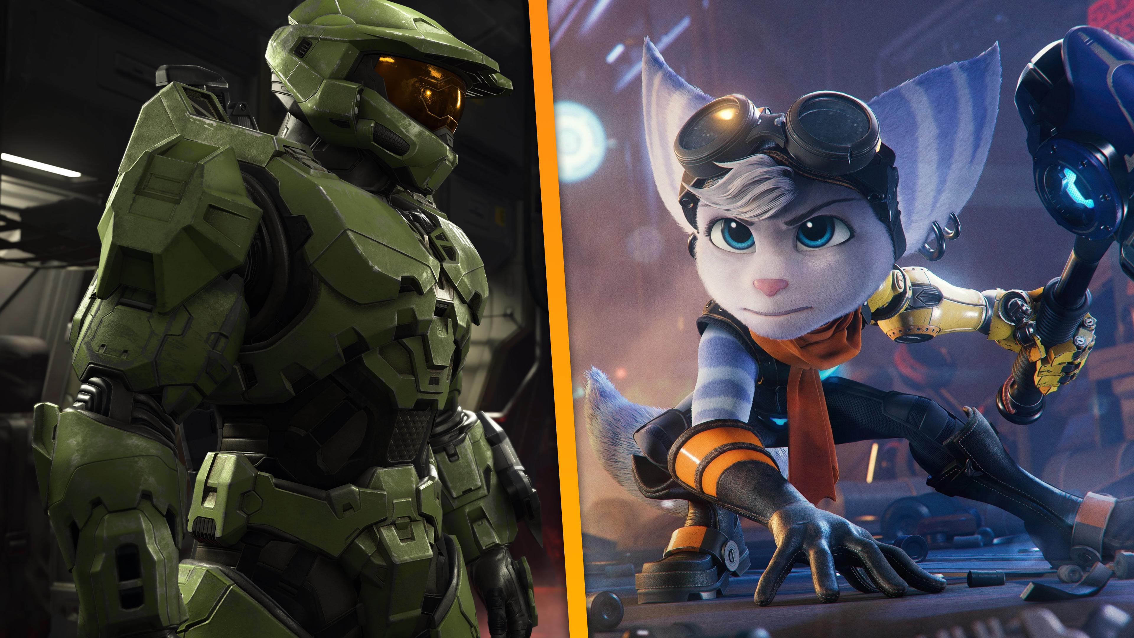 Afbeelding van Xbox' eigen Master Chief-icoon, tegenover de nieuwe heldin van PlayStation-legende Ratchet & Clank.