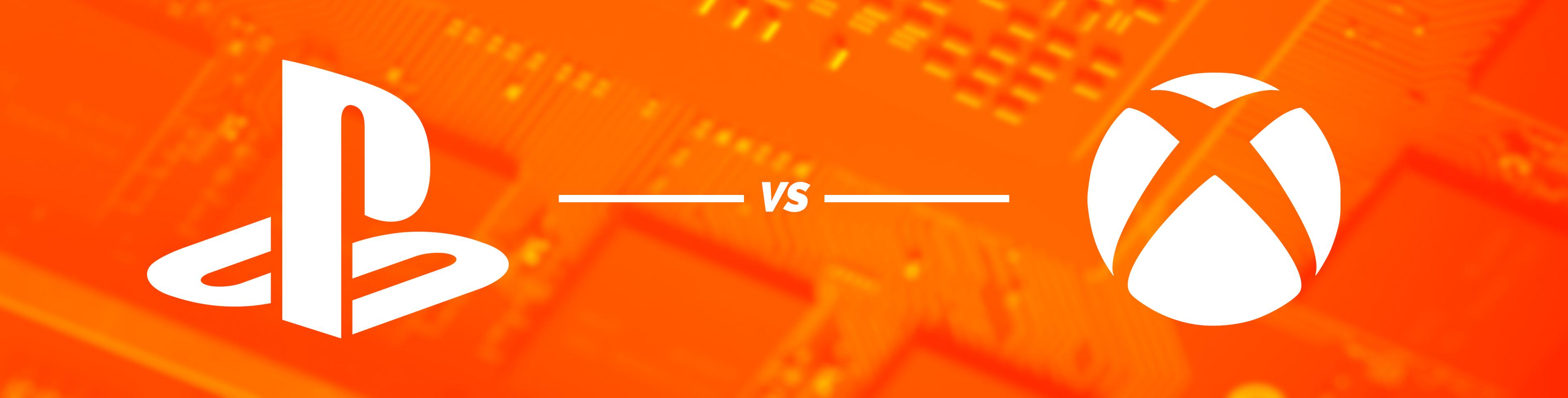 """Illustratie van de logo's van PlayStation en Xbox, tegenover elkaar gezet als vijanden in deze """"console oorlog""""."""