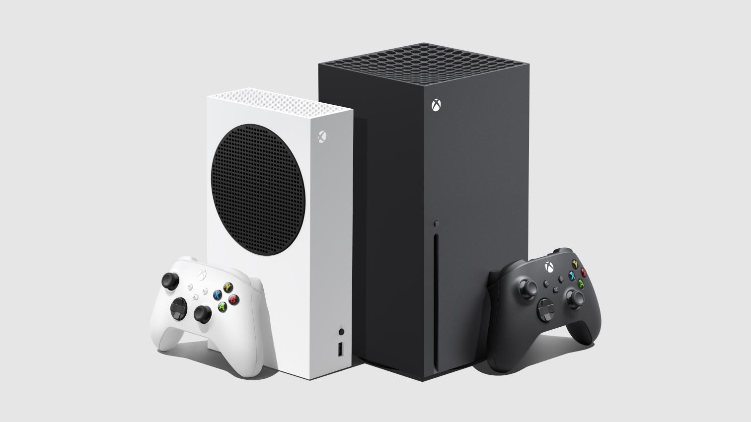 Render van de Xbox Series S en Xbox Series X consoles naast elkaar, beide bijgestaan door hun meegeleverde controller.