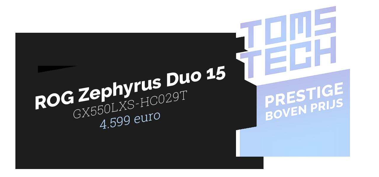 Uitreiking van het 'Prestige boven Prijs'-vaandel van Toms Tech voor de ROG Zephyrus Duo 15-laptop.