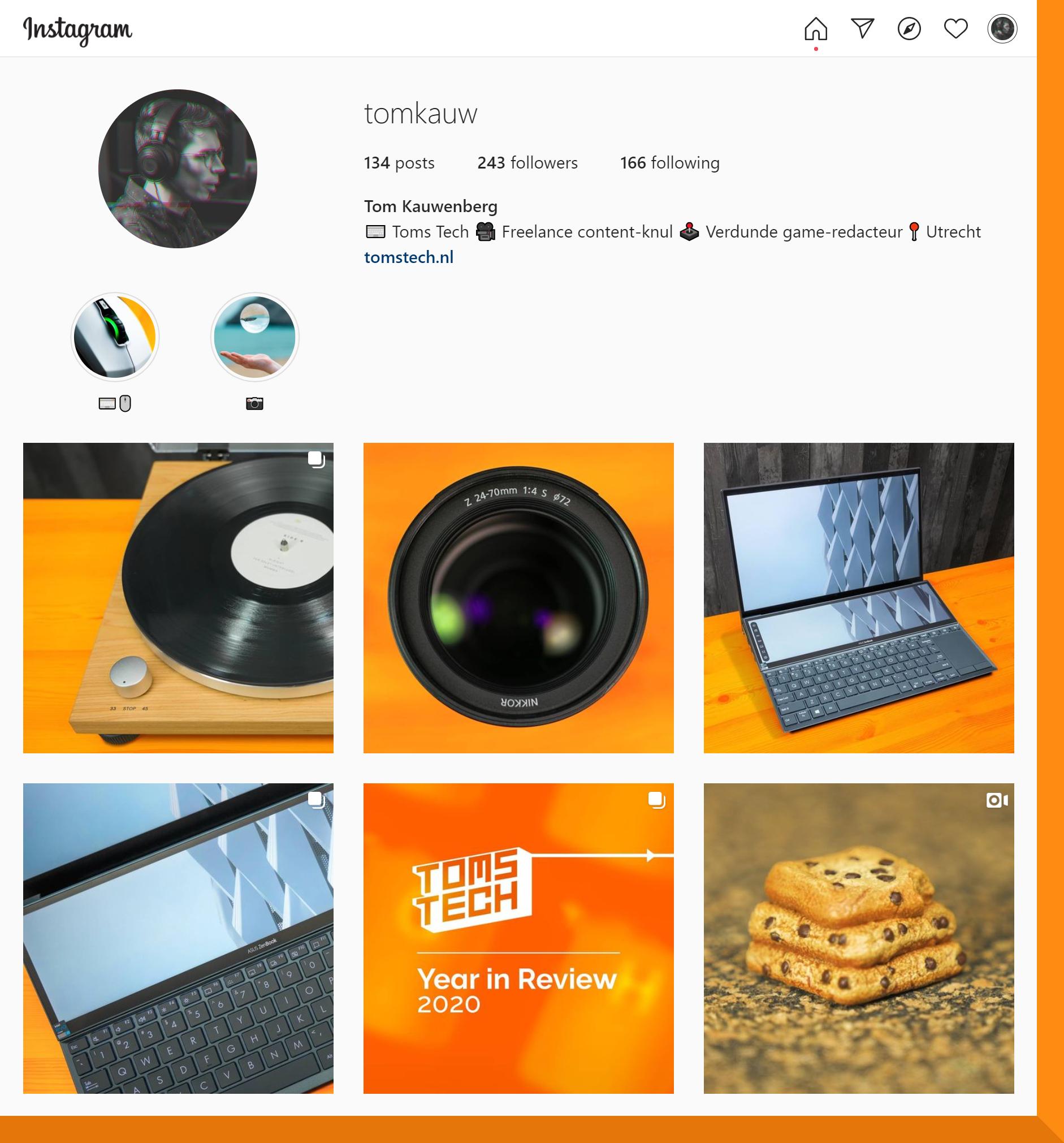 Screenshot van Tom Kauwenbergs Instagram, gevuld met promotioneel materiaal voor zijn content creator-werk.
