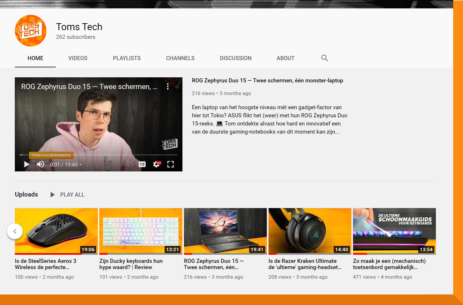 Screenshot van het YouTube-kanaal van Toms Tech.