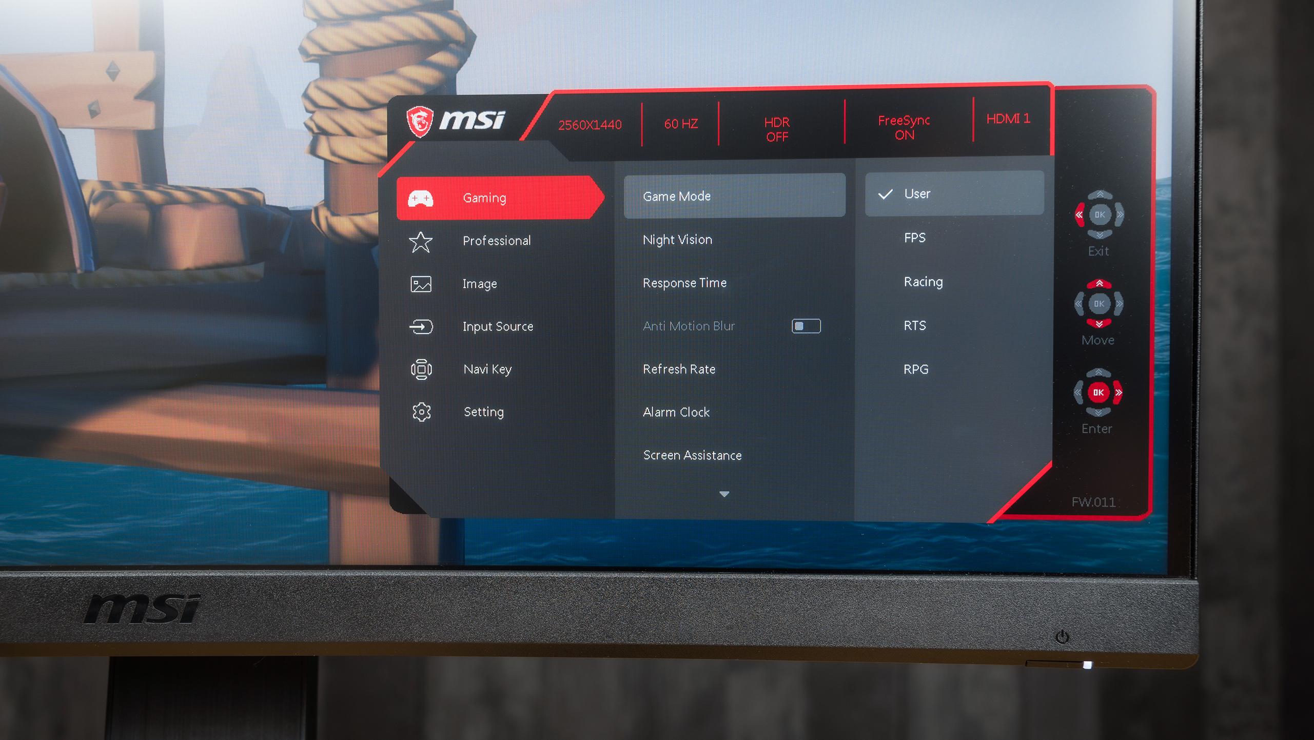 Foto van het on-screen display (OSD) menu op een MSI Optix MAG-monitor.