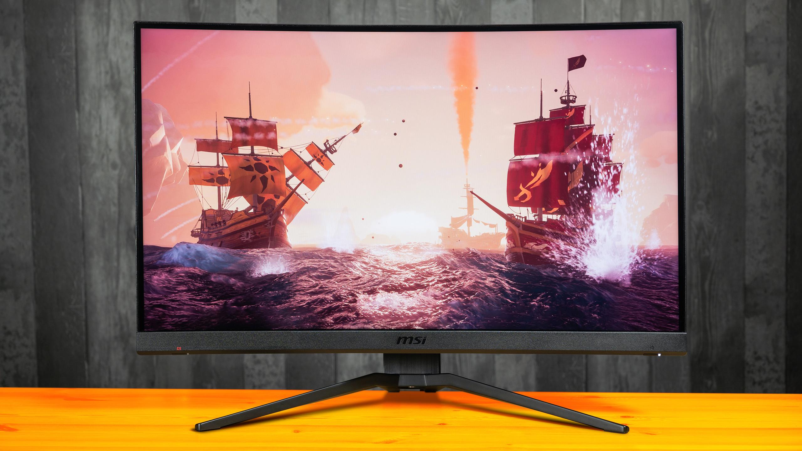 Vooraanzicht van de MSI Optix MAG272CQR-monitor, met daarop een screenshot van Sea of Thieves afgebeeld.